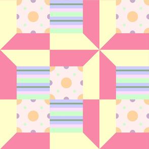Pastel Printed Quilt Squares Pink-Yellow