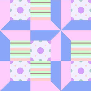 Pastel Printed Quilt Blue-Pink