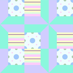 Pastel Printed Quilt Green-Purple