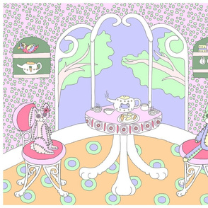 Chappy and Neko Teatime Panel Orange-Blue-Pink