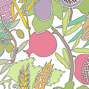 Seven Species Fruit and Grain Botanical Design in Pastel