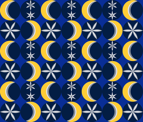 Snowy Mod Moon fabric by spinning_clouds on Spoonflower - custom fabric