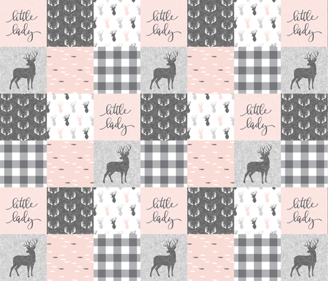little lady woodland wholecloth patchwork - light pink &  grey fabric by littlearrowdesign on Spoonflower - custom fabric