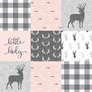 little lady woodland wholecloth patchwork - light pink &  grey