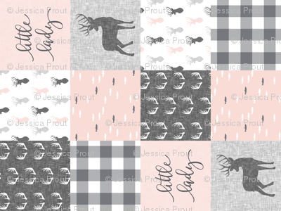 little lady woodland wholecloth patchwork - light pink &  grey (90)