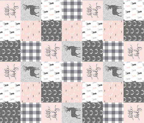 little lady woodland wholecloth patchwork - light pink &  grey (90) fabric by littlearrowdesign on Spoonflower - custom fabric