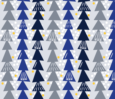 Mod snowy winter trees fabric by a_tale_of_fox on Spoonflower - custom fabric