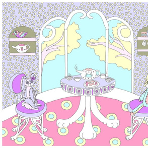 Chappy and Neko Teatime Panel Pink-Blue-Purple