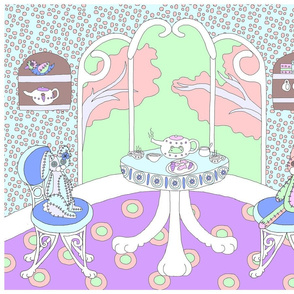 Chappy and Neko Teatime Panel Purple-Green-Blue