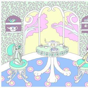 Chappy and Neko Teatime Panel Blue-Yellow-Green