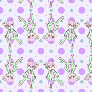 Pastel Neko Plushie Green-Pink