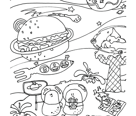 Potato_space fabric by 日月木及 on Spoonflower - custom fabric