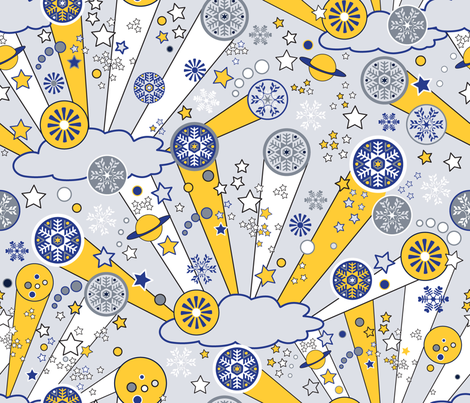 Mod Winter Clouds and Snow fabric by vinpauld on Spoonflower - custom fabric