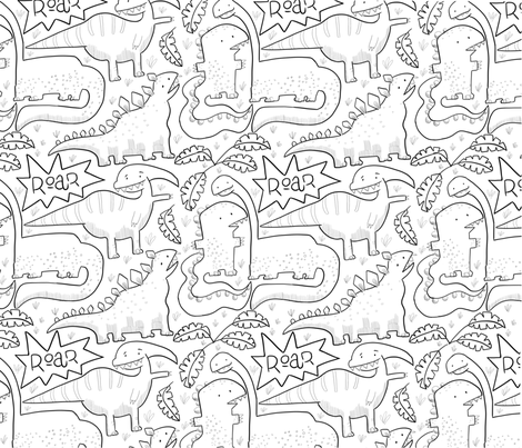 Dinosaur Fest fabric by mariamottaillustration on Spoonflower - custom fabric