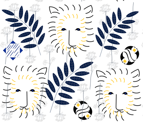 Winter's Lion Mod Design fabric by gracelillydesigns on Spoonflower - custom fabric