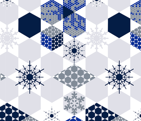 Mod Wintery Hexagons fabric by gingerlique on Spoonflower - custom fabric