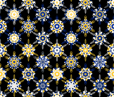Winter snowflakes / flowers fabric by matite on Spoonflower - custom fabric