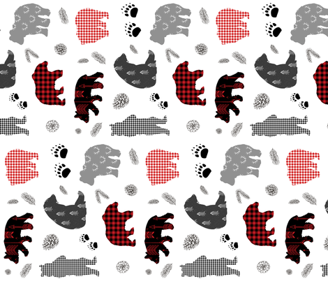 """18"""" PATCHWORK WINTER BEARS / 90 degrees fabric by shopcabin on Spoonflower - custom fabric"""