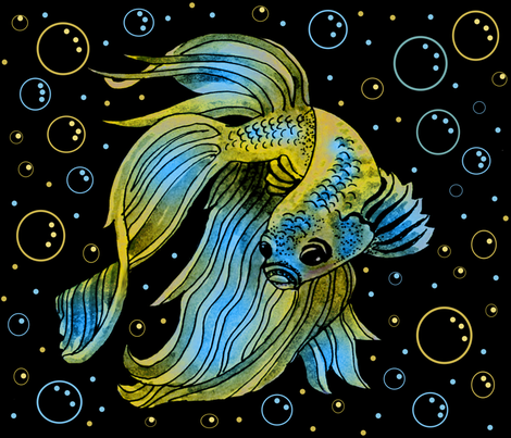 blue_and_yellow_fish fabric by leroyj on Spoonflower - custom fabric