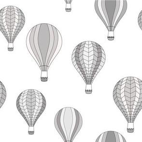 Grey hot-air balloons