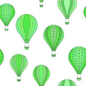 Green hot-air balloons