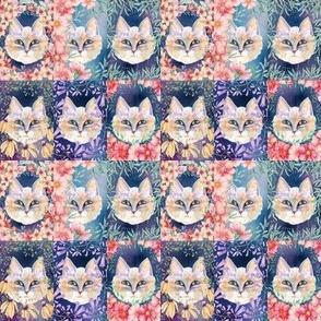 SMALL SIX PRETTY CATS 2 AMONG FLOWERS night CHECKERBOARD PANEL