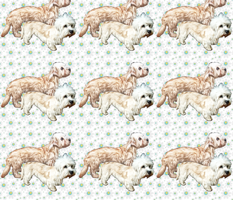Dandie Dinmont floral background fabric by dogdaze_ on Spoonflower - custom fabric