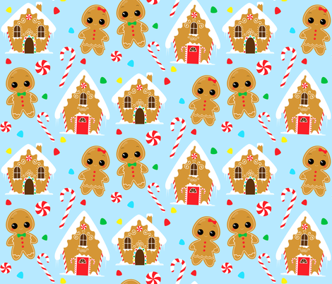 Gingerbread Village fabric by nagoreillustrations on Spoonflower - custom fabric