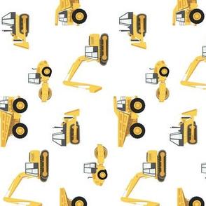 construction trucks - yellow on white (90)