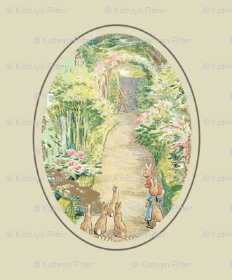 Beatrix Potter Flower Garden - Oval Frame - Kraft - Medium scale