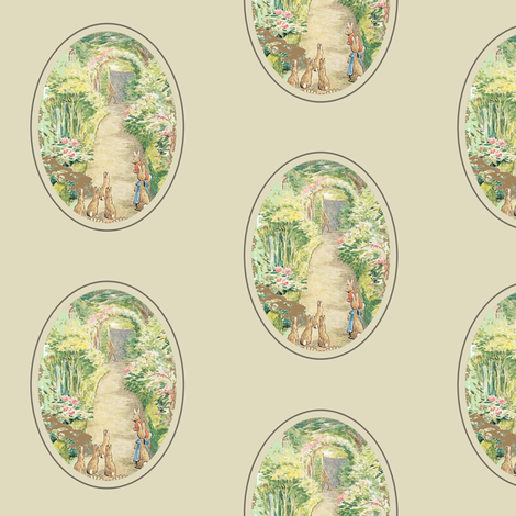 Beatrix Potter Flower Garden - Oval Frame - Kraft - Medium scale fabric by aspenartsstudio on Spoonflower - custom fabric