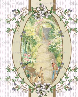 Beatrix Potter Flower Garden - Blackberry vine Oval Frame - Coordinates Available