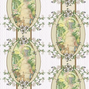 Beatrix Potter Flower Garden - Blackberry vine Oval Frame - Coordinates Available