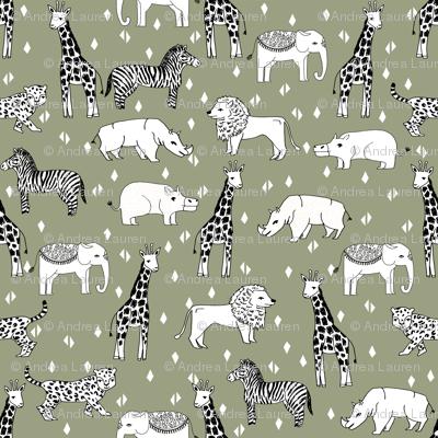 Jungle animal nursery giraffe elephant cheetah nature for Safari fabric for nursery