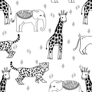 jungle // animal nursery giraffe elephant cheetah nature safari black and white