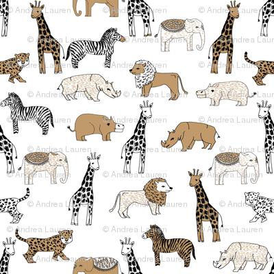 jungle // animal nursery giraffe elephant cheetah nature safari white lion brown