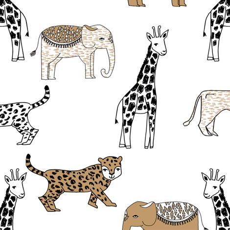 jungle // animal nursery giraffe elephant cheetah nature safari white lion brown fabric by andrea_lauren on Spoonflower - custom fabric
