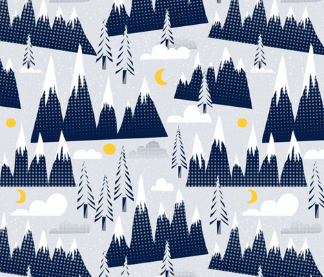 Winter Mountains fabric by vo_aka_virginiao on Spoonflower - custom fabric
