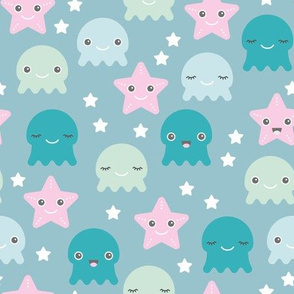 Kawaii Love under water ocean world with star fish squid and jelly fish girls