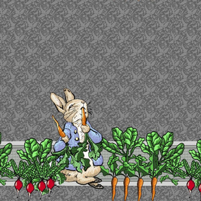 Peter Rabbit Garden Border Print - Two Rows per yard - Gray modern style