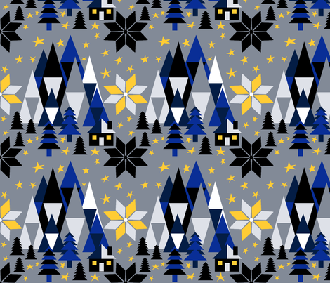 Winter Cottage in the Mountains fabric by irishvikingdesigns on Spoonflower - custom fabric