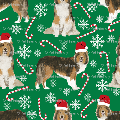 sheltie candy cane fabric shetland sheepdog christmas holiday dog fabric - green