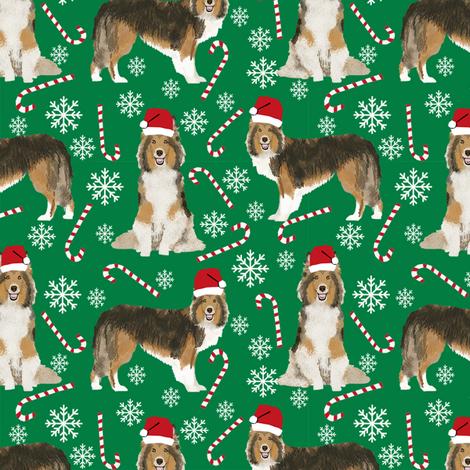 sheltie candy cane fabric shetland sheepdog christmas holiday dog fabric - green fabric by petfriendly on Spoonflower - custom fabric