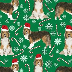 sheltie candy cane fabric shetland sheepdog christmas holiday dog fabric - green