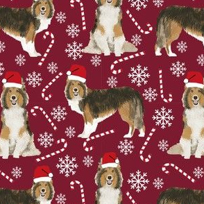 sheltie candy cane fabric shetland sheepdog christmas holiday dog fabric - ruby red