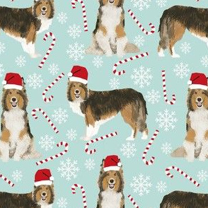 sheltie candy cane fabric shetland sheepdog christmas holiday dog fabric - light blue