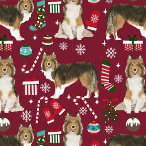 sheltie christmas fabric xmas holiday shetland sheepdog design - ruby red