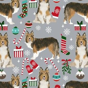 sheltie christmas fabric xmas holiday shetland sheepdog design -grey
