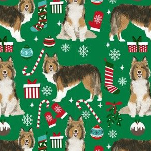 sheltie christmas fabric xmas holiday shetland sheepdog design - green