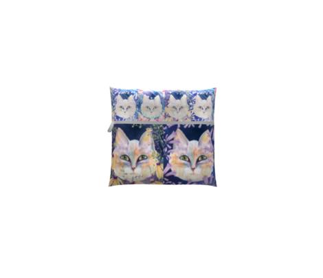 MEDIUM SIX PRETTY CATS 2 AMONG FLOWERS WINTER SNOW CHECKERBOARD PANEL